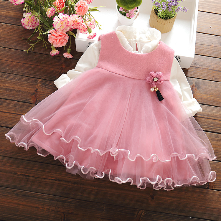 Children Clothes Baby Dresses For Girls Sleeveless Solid Suspender Princess Dresses Infant Cotton Fashion Autumn Costume hsp213