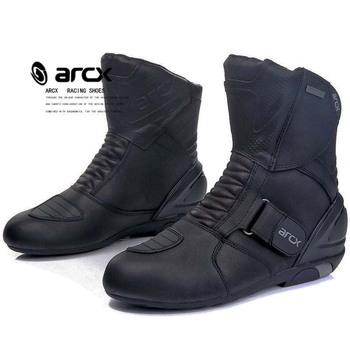 ARCX męskie buty motocyklowe oryginalne krowy skórzane wodoodporne Street Moto buty wyścigowe buty motocyklowe buty motocyklowe tanie i dobre opinie CN (pochodzenie) Połowy łydki Wodoodporna Mężczyźni Motorcycle Boots Leather Motorcycle Shoes