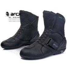 Arcx botas de couro bovino para motociclista, botas masculinas de couro bovino genuíno, à prova d água