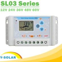 30A 10A 20Aคอนโทรลเลอร์ชาร์จพลังงานแสงอาทิตย์12V 24V 36V 48V 60V LCDชาร์จพลังงานแสงอาทิตย์Regulator li Li Ion Lithium LiFePO4แบตเตอรี่SL03