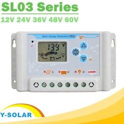 30A 10A 20A Solar Charge Controllers 12V 24V 36V 48V 60V LCD Solar Charger Regulator Li Li-ion lithium LiFePO4 Batteries SL03