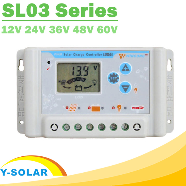 30A 10A 20A Solar Charge Controllers 12V 24V 36V 48V 60V LCD Solar Charger Regulator Li Li-ion lithium LiFePO4 Batteries SL03