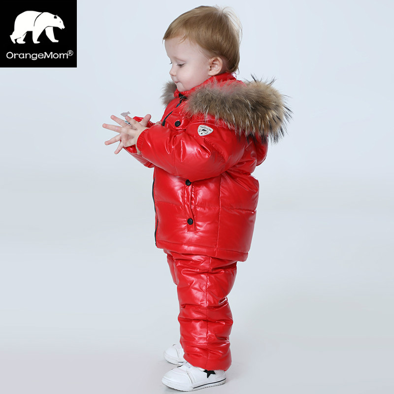 ФОТО  -25 degree Russia winter children's clothing girl clothes sets for new year's Eve boys parka jackets down coats Brand Orangemom