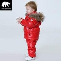 -30 độ Nga trẻ em Mùa Đông cô gái quần áo quần áo bộ cho năm mới của Eve trai parka áo coat xuống tuyết mặc