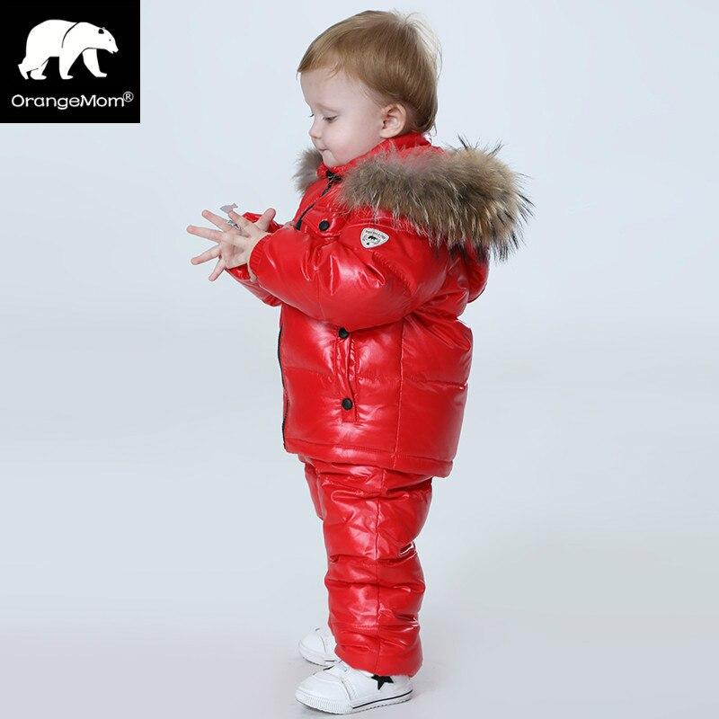 -30 grado Rusia invierno conjuntos de ropa para niños, ropa de las muchachas para la víspera de Año Nuevo niños parka chaquetas abajo desgaste de la nieve