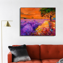 Purple Lavender Flowers Field Decor Canvas Painting Calligraphy Pictures Modern Home Wall Artwork No Frame