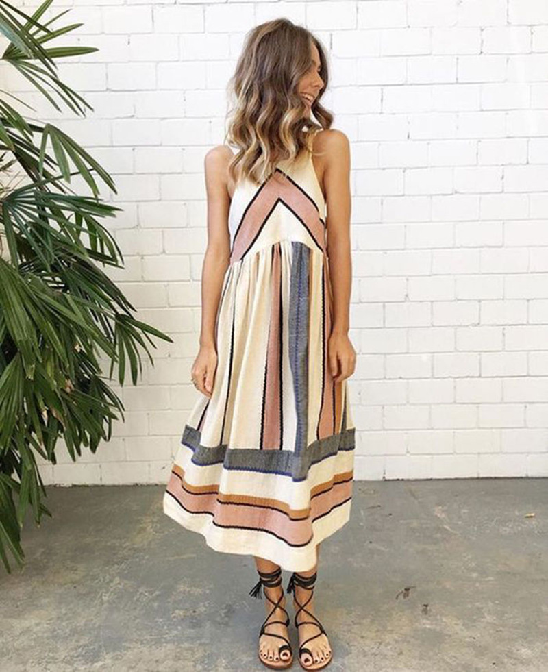 New Women Fashion Vintage BOHO Long Summer Beach Holiday Dress Sleeveless Print Loose Pleated Dress