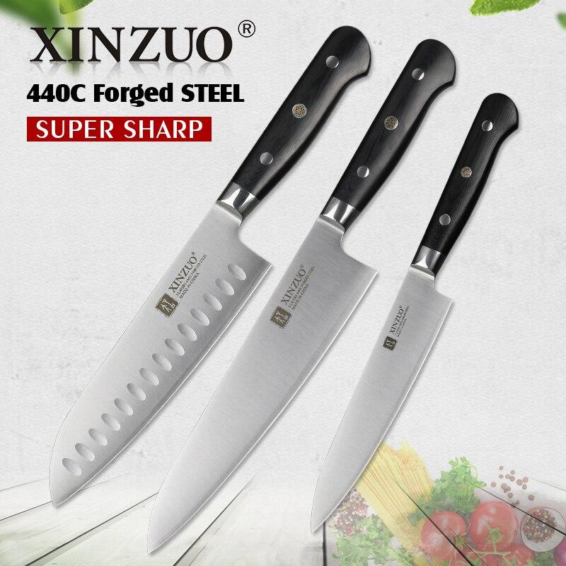 XINZUO 3 pc Cuisine Couteaux Chef Set 3 couche 440C Vêtu En Acier Forgé Chef Santoku Couteau Cuisine En Acier Inoxydable g10 Poignée