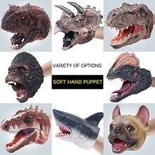 Hand Puppets Dinosaur T-Rex Figures Gloves Soft Vinyl Rubber Animal Shark dog Cow Head Action Finger King Kong Model Toys gift недорого