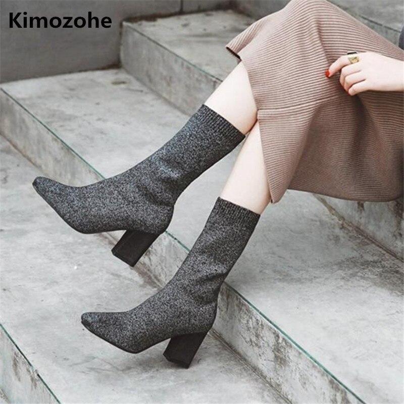 Tissu extensible mi-mollet bottes pour femmes Chunky talons hauts bout pointu tricot chaussette Botas femmes chaussures bottes Sexy pompes talon carré