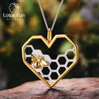 Lotus Fun Real 925 Sterling Silver Fine Jewelry Honeycomb Home Guard 18K Gold Love Heart Shape Pendant without Chain for Women