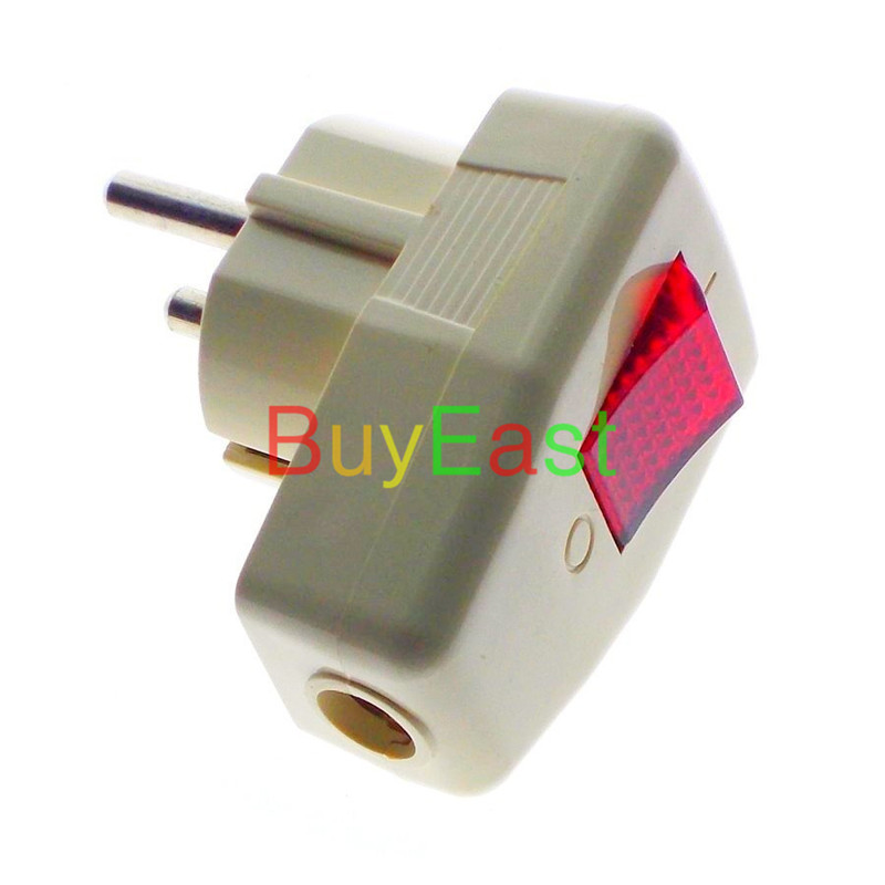 Schuko Germany Rewireable Power Plug CEE 7/4 Standard 250V 16 Amp W/ LED Indicator Switch