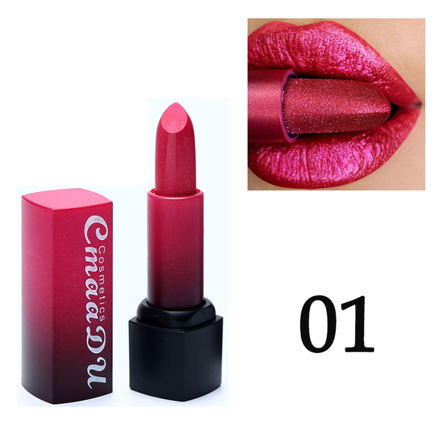 Professional Lips Makeup Lip Stick Waterproof Long Lasting Pigment Nude Pink Mermaid Shimmer metal color Lipstick Luxury Makeup 3