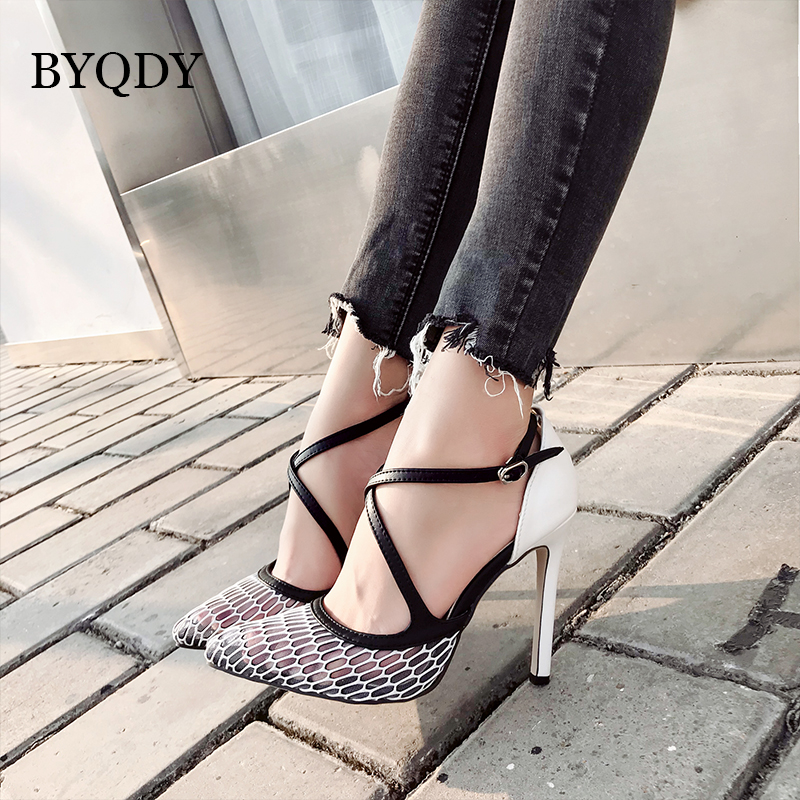 BYQDY Fashion Office Career Buckle Strap Thin High Heels Shoes Mixed Colors Woman Sandals Dress Party White Size 35 40 Footwear in Women 39 s Pumps from Shoes