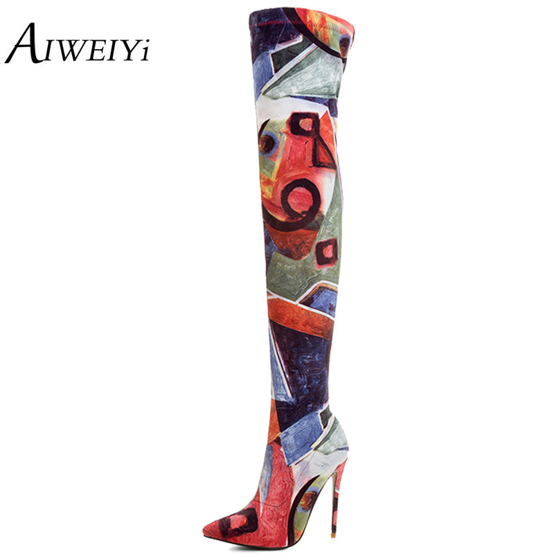 AIWEIYi Womens Over The Knee Boots Fashion Flower Print Stiletto High Heels Knee High Boots Spring Autumn Motorcycle Boots
