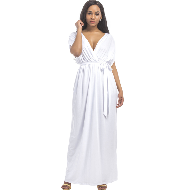 Plus Size Dress White Sexy Deep V Neck Long Dress 2017 Party Maxi Dress  With Sash 8a14ee0b8d41