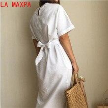 white cotton short sleeve bandage dress plus size