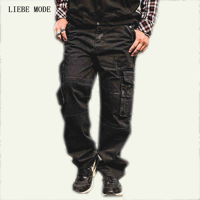 Mens Fashion Black Cargo Jeans Hombre Side Pockets Man Loose Moto Denim Biker Jeans For Men Baggy Jeans Homme Plus Size 44 46 denim