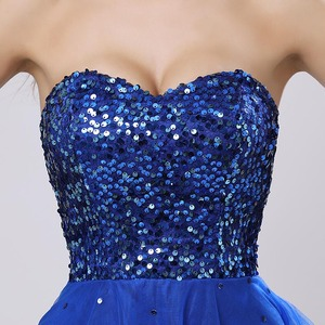 Image 5 - Sweety Royal Blue Sequins Short Prom Dresses Sweetheart Organza A Line Party Gown Lace Up Rode De Soiree In Stock Cheap SLD032