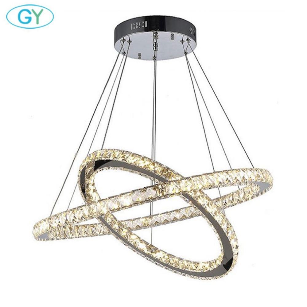 Modern led lustres 60W Big D60+D80cm Chandelier Lighting LED Crystal hanging Light for Foyer Dining Room Industrial home lamp