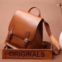 SUNNY SHOP Luxury Backpack Leather Women Bagpack Leather Genuine Travel Bag Vintage Notebook School Satchels Bag Flap Cover
