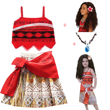 New Vaiana Necklace Dress for girls Moana Princess Dresses Kids Party Cosplay Costumes With Wig Children Clothing Moana clothes