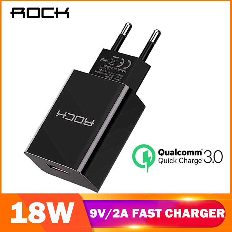 ROCK 18W QC 3.0 USB Quick Phone Charger Travel Wall Adapter 18W QC3.0 FCP Universal For Xiaomi IPhone Samsung Huawei EU Plug(China)