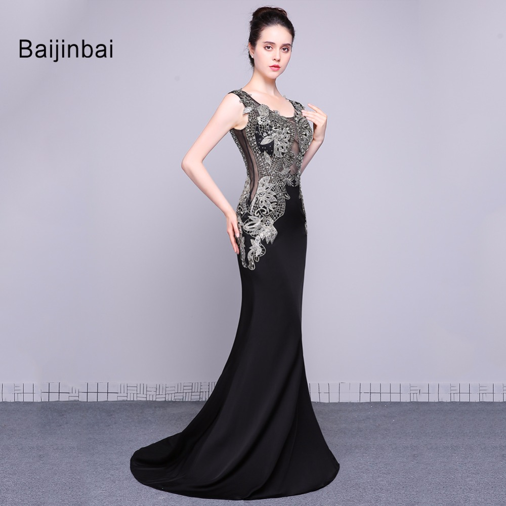 Baijinbai Moda Sexy New Real Long Black Abiti Da Sera 208 Appliques Sequins  In Rilievo Vestido De festa Della Sirena Dresses79131 3e35090dbe0