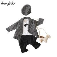 2014 New Baby Boy Set Gentleman Long Sleeve Bow Ties Rompers Jackets Infants 2 Pcs Suit