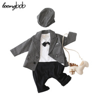 2014 New Baby Boy Set Gentleman Long Sleeve Bow Ties Rompers Jackets Infants 2 Pcs Suit