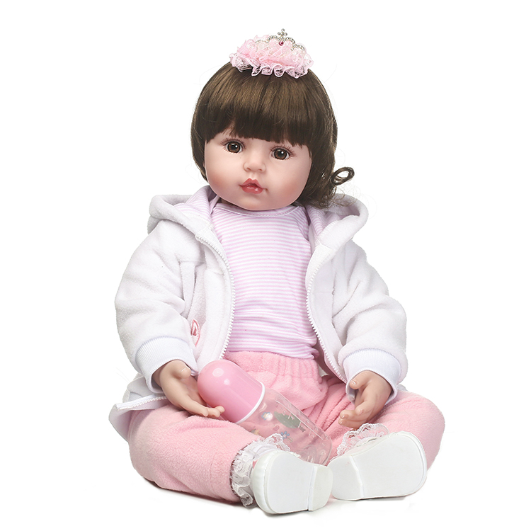 55cm Silicone reborn baby girl dolls toy realistic 22inch vinyl newborn princess toddler babies doll bebe reborn girls bonecas autumn winter beanie fur hat knitted wool cap with raccoon fur pompom skullies caps ladies knit winter hats for women beanies page 3