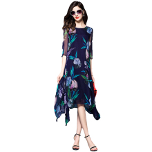 2019 New Silk Dress Spring Summer Floral Print Women Loose Fashion High Quality Casual Elegant yh74