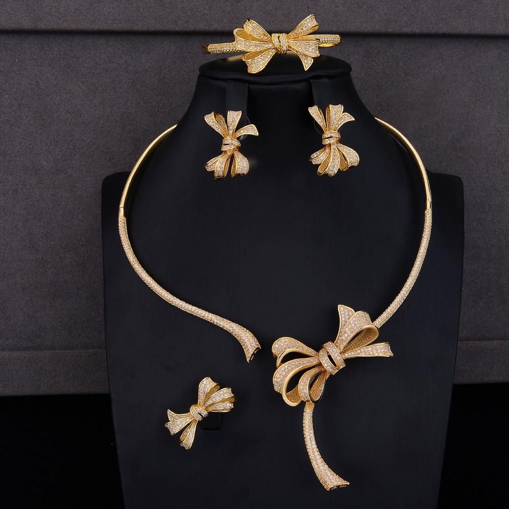 Ensembles de bijoux en or de luxe Dubai Bowknot collier en zircone cubique collier boucles d'oreilles Bracelet bague ensembles de bijoux tenues de mariage