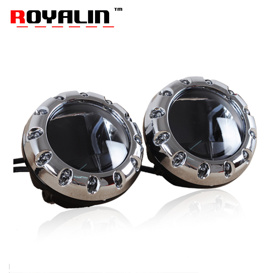 ROYALIN Car LED Fog Lights Lens Universal Fog Projector With White Angel Eyes Automobiles Front Bumper Driving Lamp Retrofit universal car fog lamp 2 pcs lot daytime driving lamp 2 5 inch 64mm drl super bright cob angel eyes fog lights projector lens