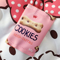 2017 New Novelty Cookies PU Leather Coin Purse Key Wallet Mini Storage Organizer Bag Dual Earphone Holder Birthday Gift