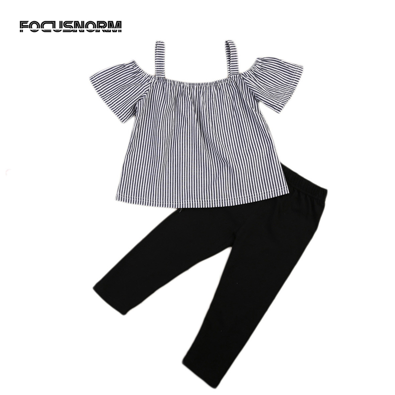 Kid Baby Girl Off Shoulder Tops T-Shirt Striped Print +Black Pants 2PCs Outfits Kid Casual Clothing