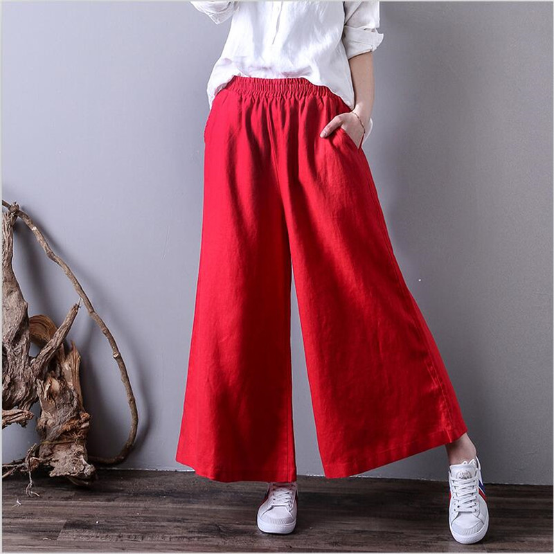 2019 Women Spring cotton   Wide     Leg     Pants   Loose solid 8 color pockets ankle-length Trousers Plus Size Women Trousers M-7XL