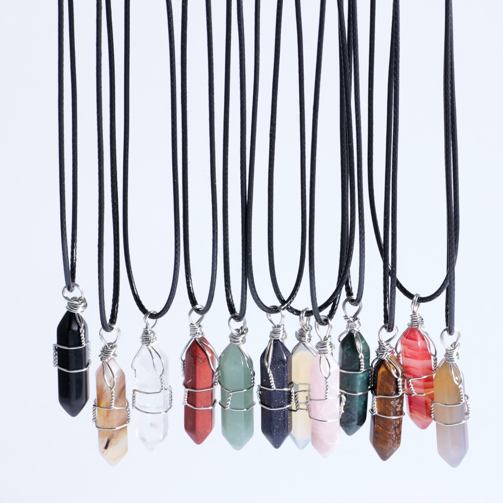 Natural Crystal Hexagon Stone Pendant With Black Leather Necklace For Free Shipping Via Ordinary Post Jewelry
