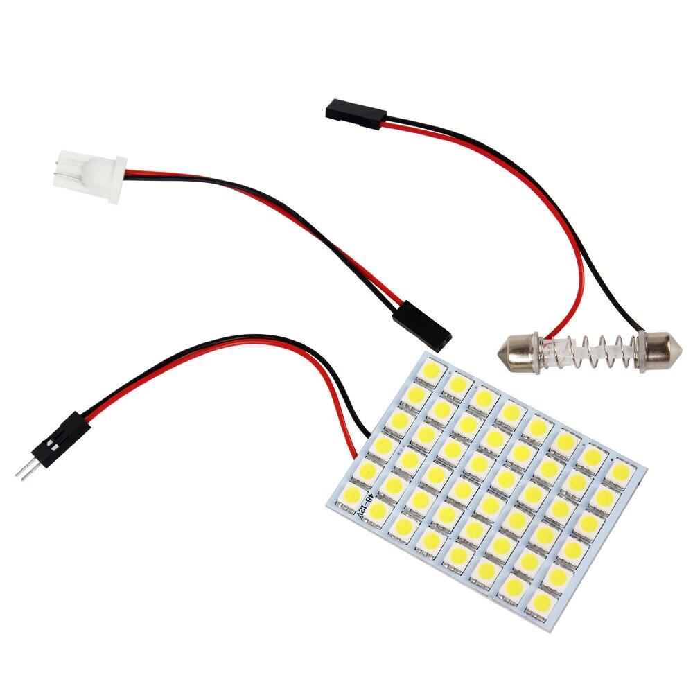 Светодиодные панели лампы для автомобилей лампа для чтения Лампа T10 ba9s адаптер свет салон источников света 48 светодиодов 5050 СМД DC 12 В Автомобильные аксессуары