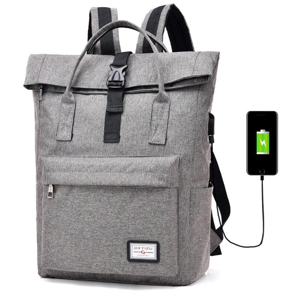 0ce160f8c353 US $17.68 40% OFF|Men Women External USB Charge Backpack Canvas Backpack  Male Mochila Escolar Girls Laptop Backpack School Bags Backpack for  Teens-in ...
