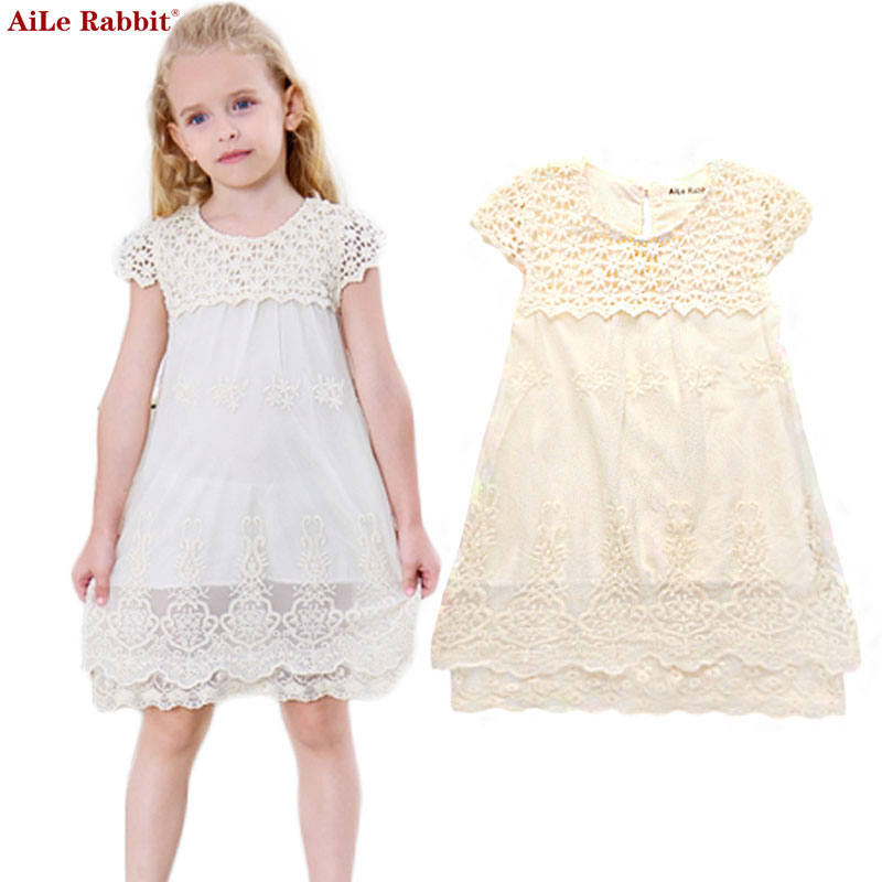 AiLe Rabbit Girls Dress Summer Children Fashion Lace Princess Dress Kids Party O-Neck Dresses 2017 New Children's Clothes aile rabbit fashion girl dress set girls summer dresses 2017 brand kids coat dress princess costume vestido infantil children