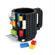 12oz 10 colors Lego Building Blocks Cube Mug Milk Tea Coffer Block Puzzle Type Self Stirring Mugs