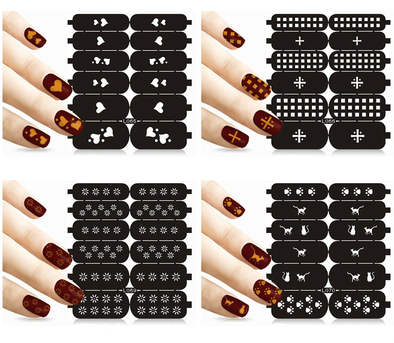Wholesale Multiple Use Toe Nail Sticker Hollow out Stencil Print ...