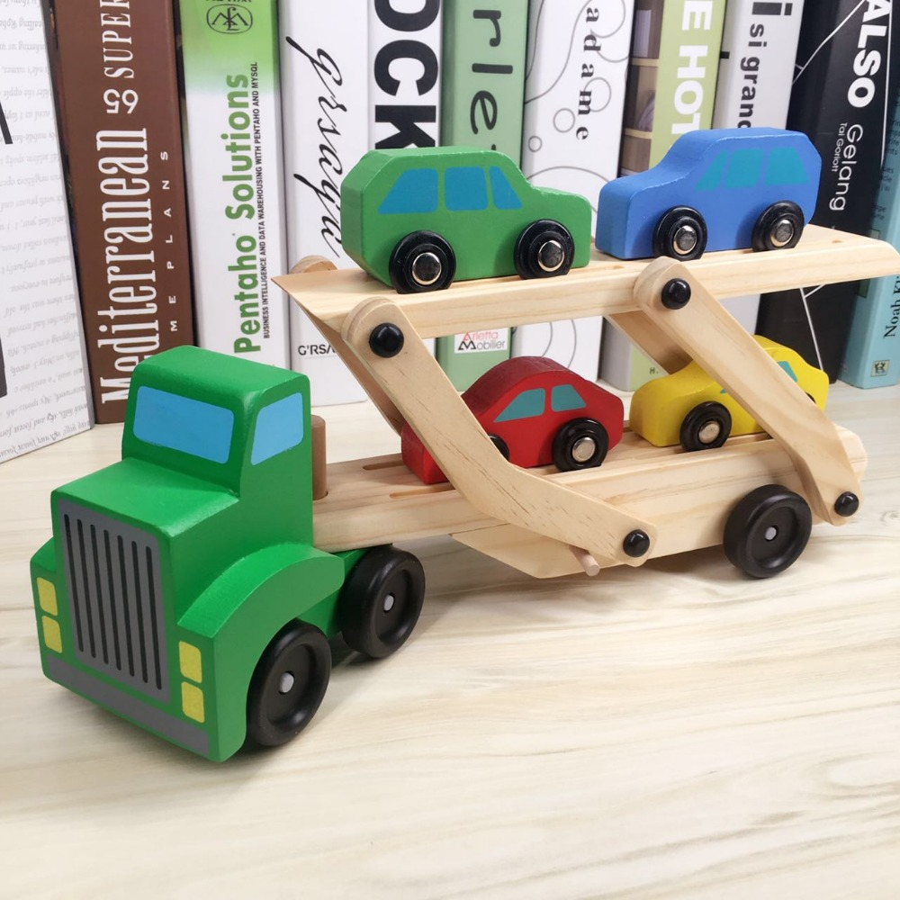us $23.8 |toy vehicle truck cars loader trailer excavator playsets kids  wooden classic model toys car carrier truck kids detachable-in diecasts &  toy