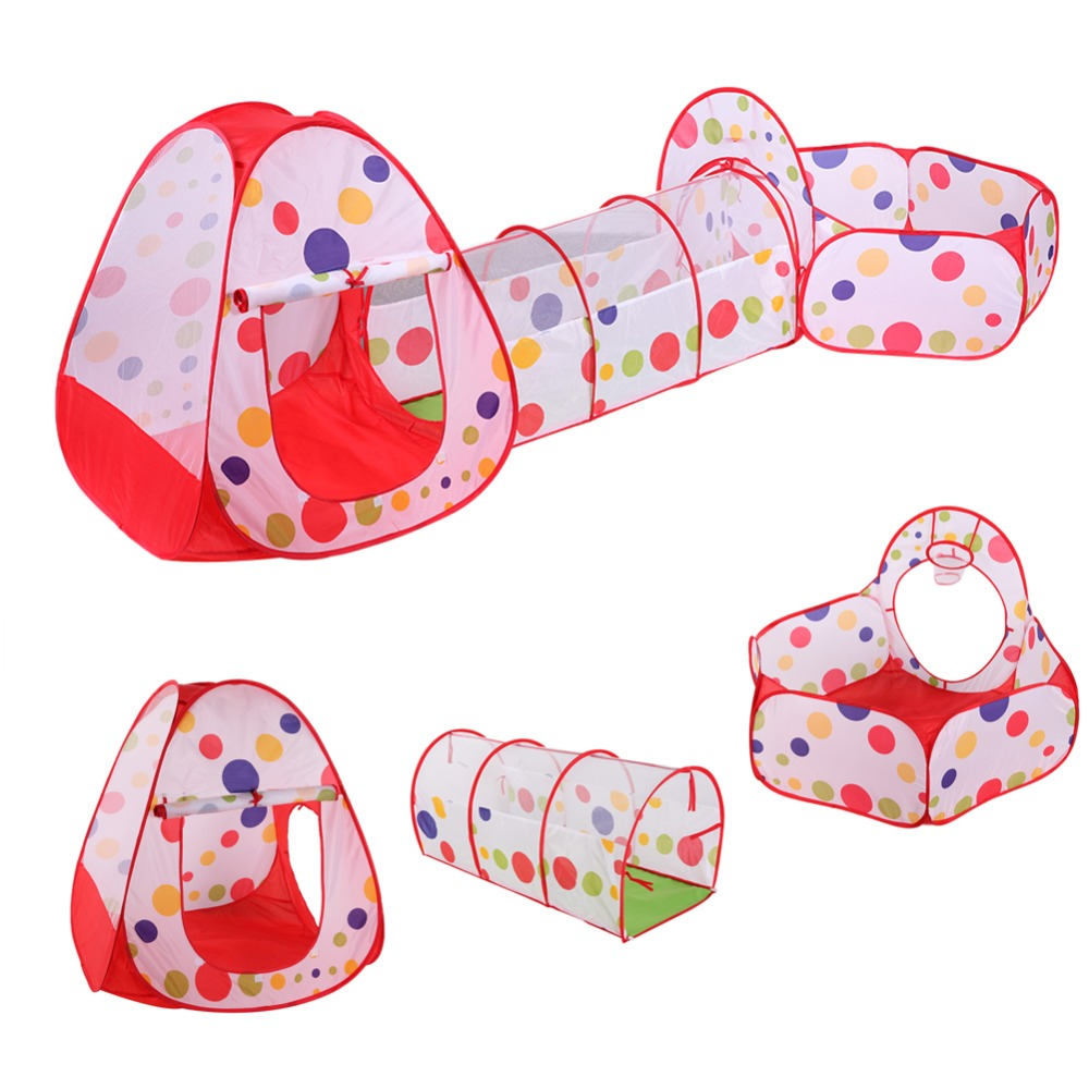3pcs/set Folding Tunnel Large House Basketball Crawling Ocean Ball Pool Pit Outdoor Fun Kids Toy Play Tents Gaming House