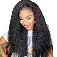 Странный прямо парики 250% Синтетические волосы на кружеве человеческих волос парики для Для женщин натуральный черный 13x4 предварительно со