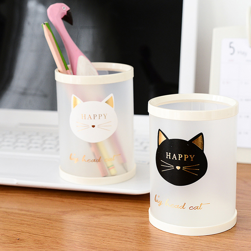 1 Pc Cute Stationery PP Animal Cat Star Transparent Frosted Round Pen Holder Students Supplies Pencil Holders Gifts
