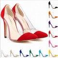 Emendados patchwork sapatos de salto alto 11 cm crystal clear faux suede sexy cunha deslizar sobre bombas stilettos branco vermelho amarelo colorido sapatos