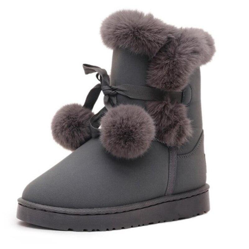 2018 Covoyyar Chaussures Furry Femmes Hiver gris Mignon Bottes rose Neige Boule Chaud Fourrure De Plate Noir Cheville marron Croix Plat Wbs797 Liée forme rYrwqT5