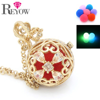 Glow Beads Pendant Gold Zircon Crystal Cross Hollow Heart Locket Aromatherapy Essential Oil Diffuser Necklace Jewelry
